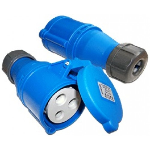 Вилка IEC 309 однофазная, мама, 32A, 250V, разборная, синяя LAN-IEC-309-32A1P/F