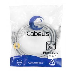 Cabeus PC-UTP-RJ45-Cat.5e-3m Патч-корд U/UTP, категория 5е, 2xRJ45/8p8c, неэкранированный, серый,PVC