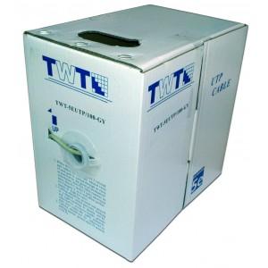 Кабель UTP 100 метров, 4 пары, Кат.5e, PVC, серый, витая пара TWT