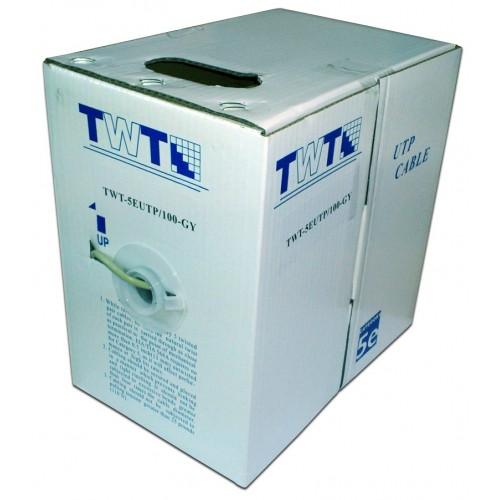 Кабель витая пара TWT UTP, 4 пары, Кат.5e, PVC, серый, 100 метров, Серый TWT-5EUTP/100