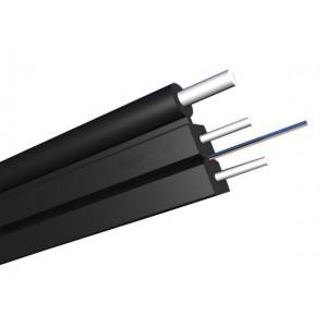 Кабель Дроп оптический 2 волокна одномод, универсальный FTTH с тросом, нг(А)-LS, белый
