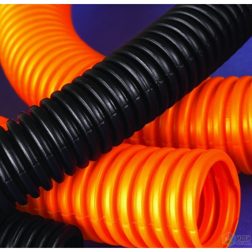 Труба гофрированная 50мм, ПНД, легкая, не распространяет горение, с протяжкой, черный, (15м) 71750