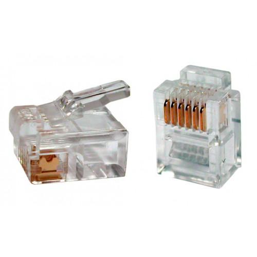 Коннектор RJ12 д/кабеля 6-ти контактный, 100 шт. TWT-PL12-6P6C/100