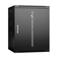 """Шкаф 19"""" 15U 600x600 Cabeus телекоммуникационный настенный, металлическая дверь, черный, разборный"""