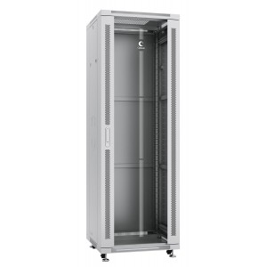"""Cabeus Шкаф 19"""" 37U напольный телекоммуникационный 600x600 серый, разборный, дверь стекло"""