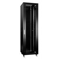 """Cabeus Шкаф 19"""" 42U напольный телекоммуникационный 600x600 черный, разборный, дверь стекло"""