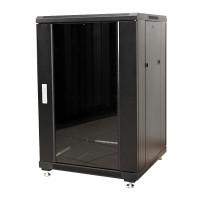 """Шкаф напольный 19"""" 18U 600x800 серверный MDX-R-18U60-80-GS передняя дверь стекло задняя метал черный"""