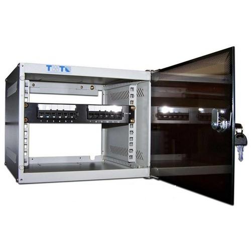 """Шкаф TWT настенный 10"""" Lite, 12U 300x310, стеклянная дверь TWT-CBW10-12U-3x3"""