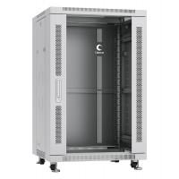 """Cabeus Шкаф 19"""" 18U напольный телекоммуникационный 600x600 серый, разборный, дверь стекло"""