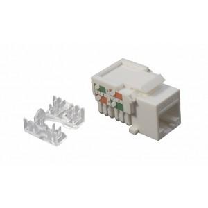 Розеточный модуль Keystone кат.5e, UTP, 1xRJ45, T568A/B, белый, DR-5102