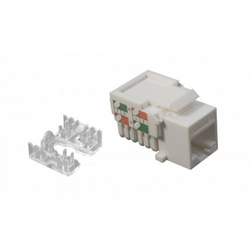 Розеточный модуль Keystone кат.5e, UTP, 1xRJ45, T568A/B, белый, DR-5102 DR-5102