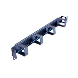 Органайзер 1U горизонтальный, 4 метал.кольца, 3 щеточных ввода, черный