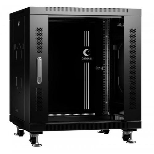 """Cabeus Шкаф 19"""" 12U напольный телекоммуникационный 600x600 черный, разборный, дверь стекло SH-05C-12U60/60-BK"""