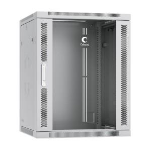 """SH-05F-15U60/60 Шкаф 19"""" 15U 600x600 Cabeus телекоммуникационный настенный, дверь стекло, разборный"""