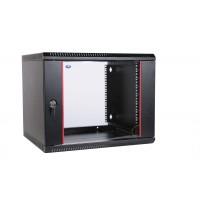 """Шкаф 19"""" ЦМО 9U телекоммуникационный настенный разборный 600х350 дверь стекло, цвет черный"""