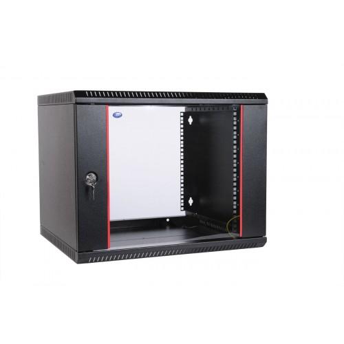 """Шкаф 19"""" ЦМО телекоммуникационный настенный разборный 9U (600х350) дверь стекло, цвет черный ШРН-Э-9.350-9005"""