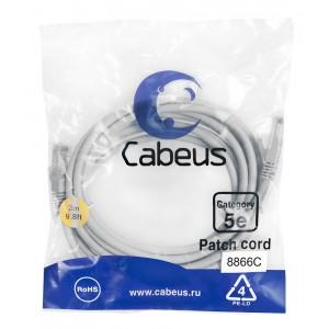 Cabeus PC-UTP-RJ45-Cat.5e-3m-LSZH Патч-корд U/UTP, категория 5е, 2xRJ45/8p8c, неэкранированный,серый