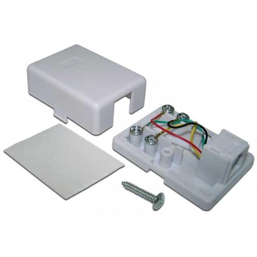 Телефонная розетка настенная 1 порт 6P4C, винтовая TWT-SS1-12-WH