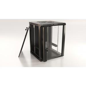 """Шкаф напольный 19"""" 9U, 500x600х600мм, стеклянная дверь с перфорацией по бокам, ручка с замком"""