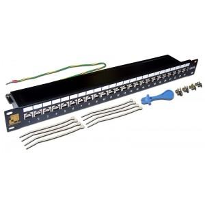 """Патч-панель 19 """" кат.6A, 1U LANMASTER 24 порта RJ45, STP,"""