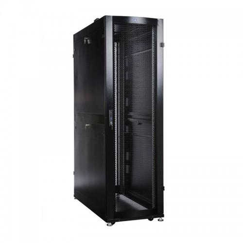 Шкаф ЦМО серверный ПРОФ напольный 48U (600x1000) дверь перфор. 2 шт., черный, в сборе ШТК-СП-48.6.10-44АА-9005
