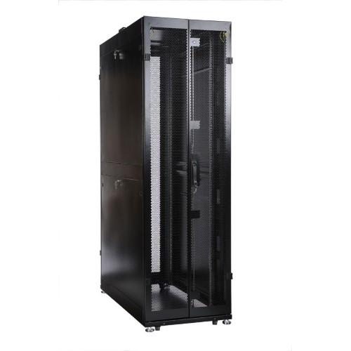 """Шкаф ЦМО 19 """" телекоммуникационный напольный 42U (800x1000) дверь перфорированная 2 шт., цвет чёрный ШТК-М-42.8.10-44АА-9005"""