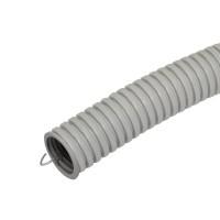 Труба гофрированная 25мм ПВХ (серая) с зондом легкая (бухта 50 м)