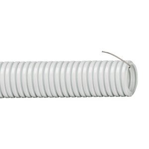 Труба гибкая гофрированная 32мм ПВХ легкая с протяжкой (25м) серый
