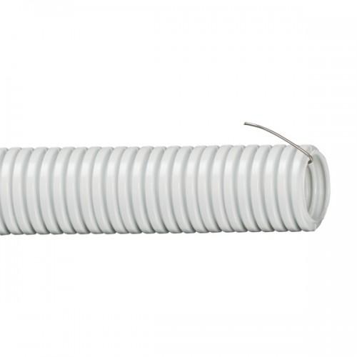 Труба гибкая гофрированная 32мм, ПВХ, легкая, не распространяет горение, с протяжкой, серый, (25м) 91932