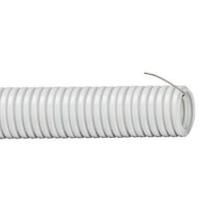 Труба гофрированная 50мм, ПВХ, легкая, не распространяет горение, с протяжкой, серый, (15м)
