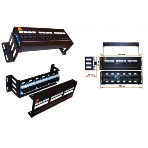 Патч-панель LANMASTER настенная с фронтальным монтажом 12 портов, UTP, кат.5E LAN-PPF12U5E/W