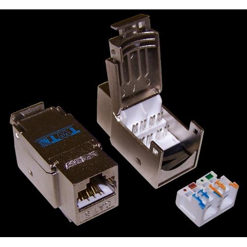 Модуль Keystone RJ45, Cat.6, STP, 90 градусов, белый, TWT-OK45STP/6-WH TWT-OK45STP/6-WH