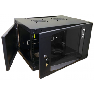 """TWT-CBWNG-18U-6x4 Шкаф 18U 19"""" настенный 550x450, TWT стеклянная дверь, черный, разборный"""