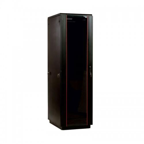 """Шкаф ЦМО 19 """" телекоммуникационный напольный 42U (800x800) дверь стекло, цвет чёрный ШТК-М-42.8.8-1ААА-9005"""