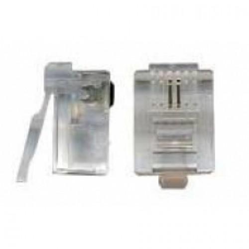 Коннектор RJ12 д/кабеля 2-ух контактный, 100 шт. TWT-PL12-6P2C/100
