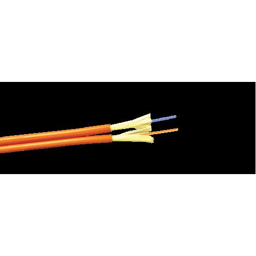 Кабель 2 волокна многомод внутренний, ZIP cord, LSZH, OM2, оранжевый LAN-OFC-ZI2-M2-LS