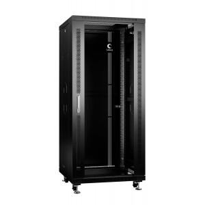 """Cabeus Шкаф 19"""" 27U напольный телекоммуникационный 600x600 черный, разборный, дверь стекло"""