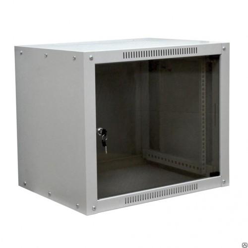"""Шкаф 6U 350 мм MDX настенный 19"""" облегченный, дверь стекло, без задней стенки, серый MDX-SH-6U60-35-GO-GY"""