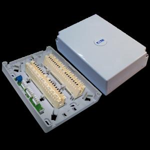 Настенная коробка с установленными плинтами, 2 размыкаемых плинта, 20 пар, пластик TWT-DB10-2P-DIS