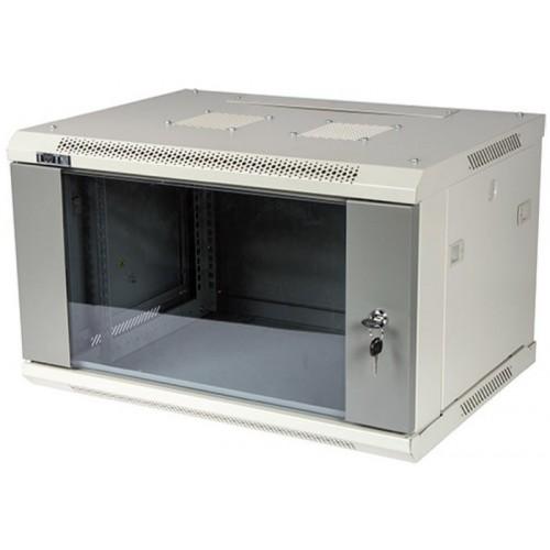 """Шкаф TWT настенный 19"""" серии Pro, 6U 600x600, стеклянная дверь TWT-CBWPG-6U-6x6-GY"""