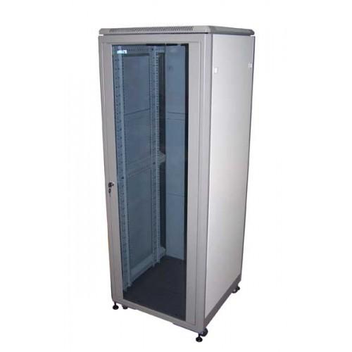 """Шкаф TWT 19"""" телекоммуникационный, серии Eco, 27U 600x600, серый, дверь стекло TWT-CBE-27U-6x6"""