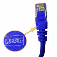 Патч-корд RJ45 UTP кат 5Е шнур медный LANMASTER 1.0 м синий