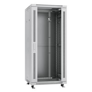 """Cabeus Шкаф 19"""" 27U напольный телекоммуникационный 600x600 серый, разборный, дверь стекло"""