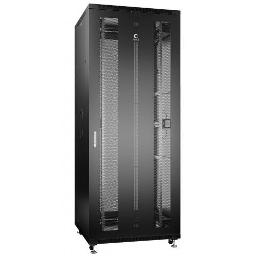 """Cabeus Шкаф 42U телекоммуникационный 19"""" напольный  800x1000 перфорированные двери, ручка с замком, цвет черный (RAL 9004) ND-05C-42U80/100-BK"""