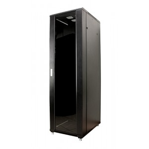 """Шкаф 42U 600x800 серверный 19"""" передняя дверь стекл, задняя металл, черный MDX-R-42U60-80-GS-BK"""