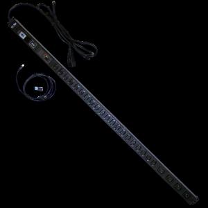 Вертикальный блок розеток, 4xC19+20xC13, 250V/16A, с мониторингом по RS-485, шнур 3 м, вилка C20