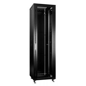 """Cabeus Шкаф 19"""" 42U напольный телекоммуникационный 600x800 черный, разборный, дверь стекло"""