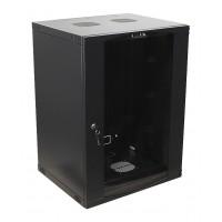 """TWT-CBWNG-15U-6x4-BK Шкаф 15U настенный 19"""" 550x450, стеклянная дверь, черный, разборный"""