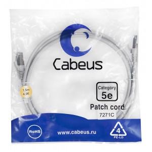 Cabeus PC-FTP-RJ45-Cat.5e-1.5m Патч-корд F/UTP, категория 5е, 2xRJ45/8p8c, экранированный, серый,PVC