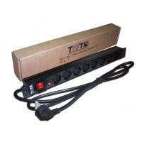 "TWT-PDU19-16A8P-3.0 PDU Блок силовых розеток 19"" 8 шт., 16A 250V, шнур питания 3.0 м TWT"